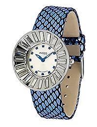 Moog Paris Sunshine Women's Watch with White Dial, Blue Genuine Leather Strap & Swarovski Elements - M45342-109