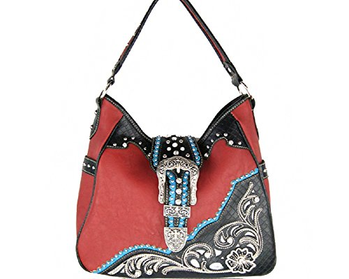 Western bag Concealed With Embroidery Bracelet Purse Rhinestone RED Handbag Carry Buckle tote 5a77qX6x