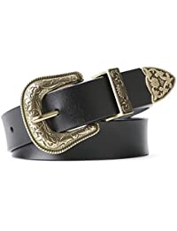 Women Leather Belts Ladies Vintage Western Design Black Waist Belt for Pants Jeans Dresses