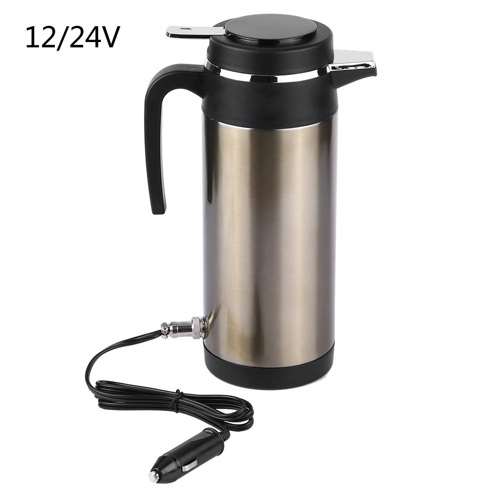 Keenso Car Kettle Boiler 1200ML 12V/24V Stainless Steel Electric In-car Kettle Car Heating Cup Travel Thermoses Heating Water Bottle for Water Tea Coffee Milk(12V)