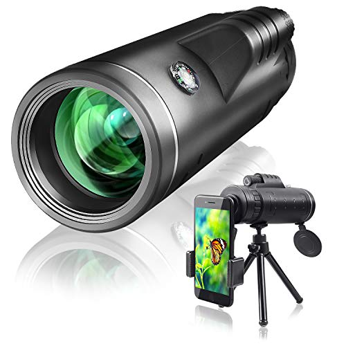 Qhui Monocular Telescope 40x60 with Extendable Tripod and Smartphone Adapter Waterproof Fogproof Low Light Version High Powered HD BAK4 Prism FMC Lens for Bird Watching, Hunting, Camping, Travelling