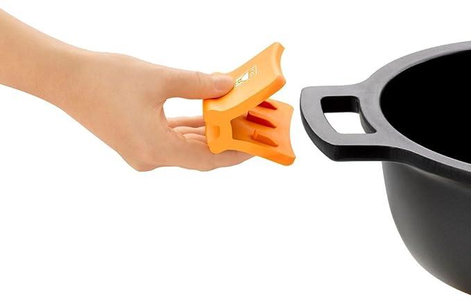 BRA Efficient - Olla alta con tapa de cristal y asas de silicona, 4.1 litros, 20 cm