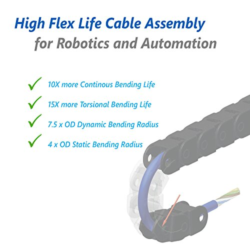 USB 3.0 10+ Million High Flex Bending/ Continous Flex Industrial Grade Cable Assembly for Automation, Robotics and Machine Vision Application, 5M (15 ft), USB Standard A to Micro B Locking Connector