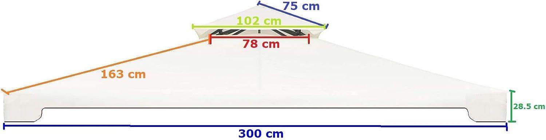 MLI Telo di Ricambio per Gazebo 3X3 Top di Copertura 10625 PVC da 220 gr Ecru con Tetto Camino Antivento Impermeabile Anti Pioggia