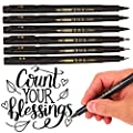 (4 Size,6 Pack) Calligraphy Pens, DealKits Brush Pen Markers Sets Kits for Kids Beginner Caligrapher Hand Lettering Writing Guide Chinese Caligraphy Art Drawings Signature Illustration Design, Black