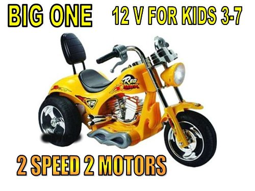 Big 2 SPEED Motorcycle 12v Power Kid 3-6 Ride On wheels YELLOW OR ORANGE IN COLOR SENT AT RANDOM
