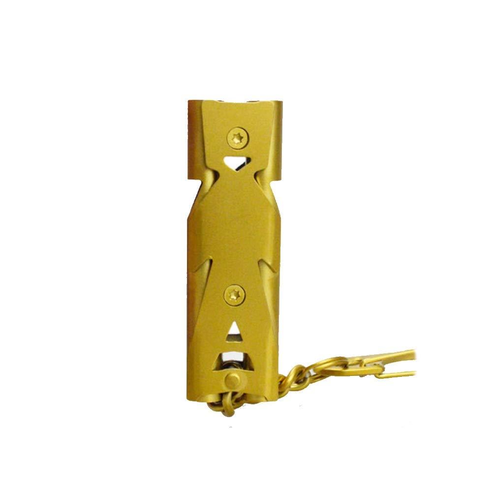 YIXINGSHANGMAO Emergency Whistle, high-Decibel Outdoor Whistle, Stainless Steel Double-Tube Whistle, Available in Two Colors. Stainless Steel Whistle (Color : Yellow) by YIXINGSHANGMAO