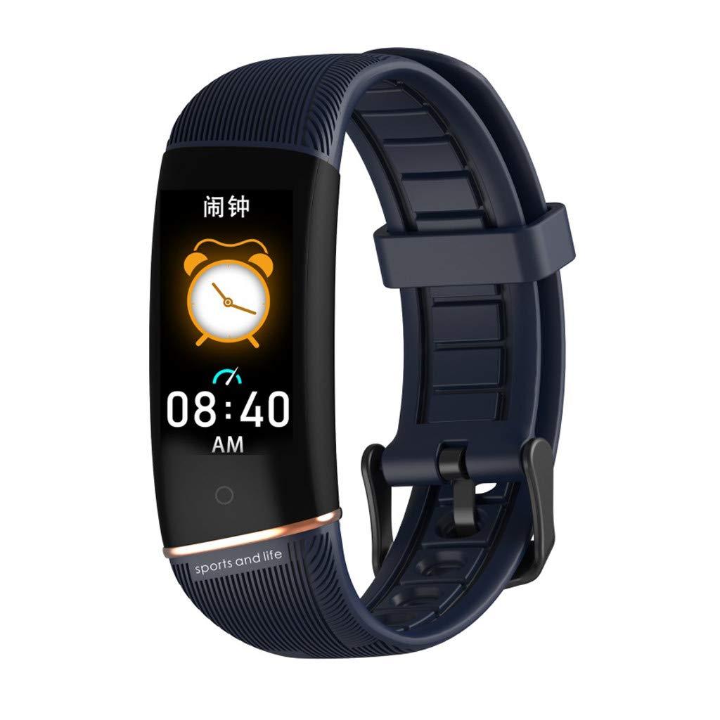 Larmly E98 Fitness Tracker Sport Smart Bracelet Heart Rate Monitor Blood Oxygen Monitoring Smart Watch Waterproof (Blue) by Larmly