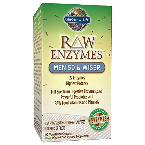 Garden of Life Vegetarian Digestive Supplement for Men 50 & Wiser - Raw Enzymes for Digestion, Bloating, Gas, and IBS, 90 Capsules