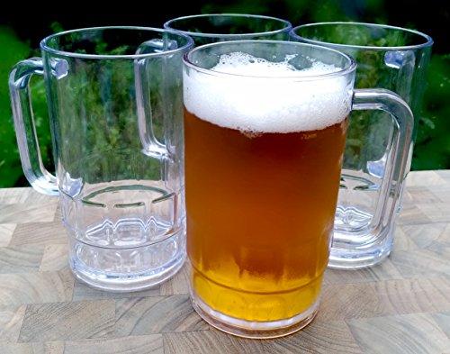 (Shatterproof Classic Beer Mug - 16 ounces Outdoor Beer Mugs (Set of)