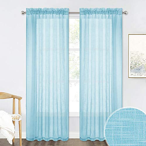 RYB HOME 84 inch Long Sheer Curtain Draperies for Living Room, Washable Linen Textured Sheer Panels for Boys Bedroom/Office, Baby Blue, Wide 52 in x Long 84 in - per Panel, Set of 2 (Baby Blue Kitchen Curtains)