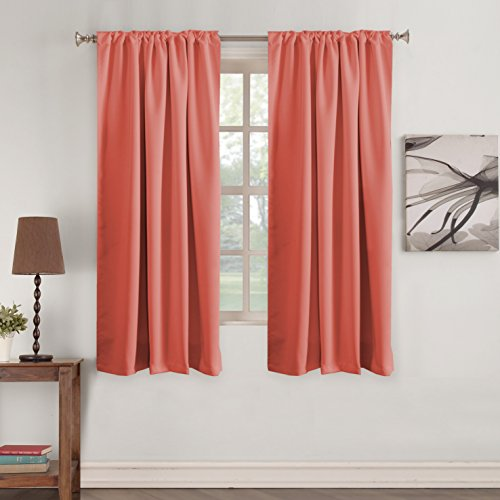 Turquoize Coral Curtains Bedroom Blackout Draperies Panels 52 inch Wide by 63 inch Long Energy Efficient Thermal Insulated Back Tab/Rod Pocket Window Panel Drapes - 2 Panels - Coral, 52x63 Inch