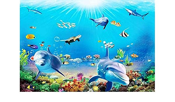 Yeele 10x8ft Dolphin Photography Background Underwater Seabed Aquarium Oceanarium Sunshine Tropical Fish Sea Turtle Coral Photo Backdrops Portrait Shooting Studio Props Wallpaper
