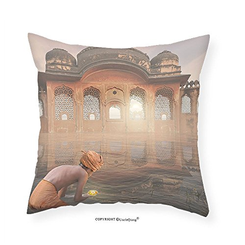 VROSELV Custom Cotton Linen Pillowcase Ancient India Traditional Man Doing a Ritual Ceremony in Ganges River Sacred Image for Bedroom Living Room Dorm Peach Grey 18