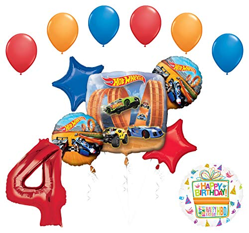 Mayflower Products Hot Wheels Party Supplies 4th Birthday Balloon Bouquet Decorations -