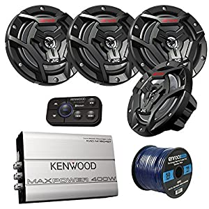 "Marine Speaker And Amp Package: 4x JVC CS-DR6200M 100-Watt 6.5"" 2-Way Coaxial Speakers Bundle Combo With Kenwood 320-Watt 4-Channel Waterproof Bluetooth Amplifier + 50Ft 16g Speaker Wire"