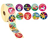 Reward Stickers - 1000-Count Spanish Encouragement Sticker Roll for Kids, Motivational Stickers with Cute Animals for Students, Teachers, Classroom Use, 8 Designs, 1.5 inches Diameter