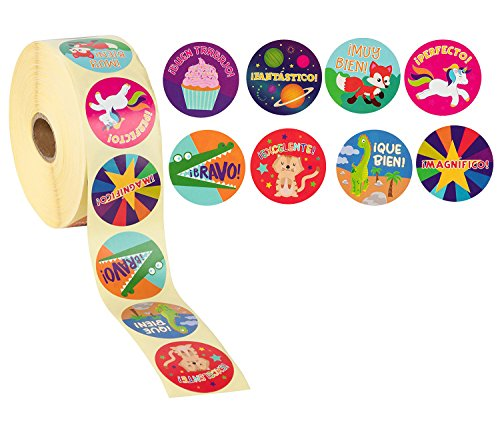 Reward Stickers - 1000-Count Spanish Encouragement Sticker Roll for Kids, Motivational Stickers with Cute Animals for Students, Teachers, Classroom Use, 8 Designs, 1.5 inches Diameter by Blue Panda