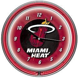 Trademark Gameroom NBA Miami Heat Chrome Double Ring Neon Clock, 14