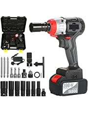 Cordless Impact Wrench Kit Brushless Drill 1/2 & 1/4 Inch Quick Chuck 980Nm Torque Fast Charger 4.0A Battery Variable Speed Multifunction Impact Kit with 18 Accessories and Carrying Box