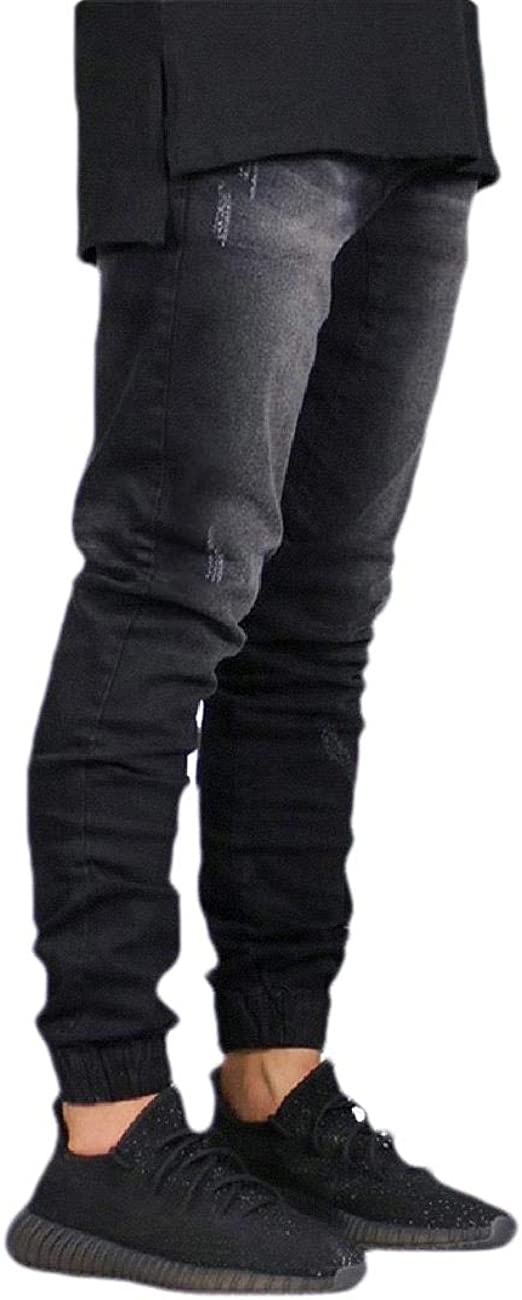 Romancly Men's Pocket Casual Loose Jogger Mid Waist Washed Tapered Jeans