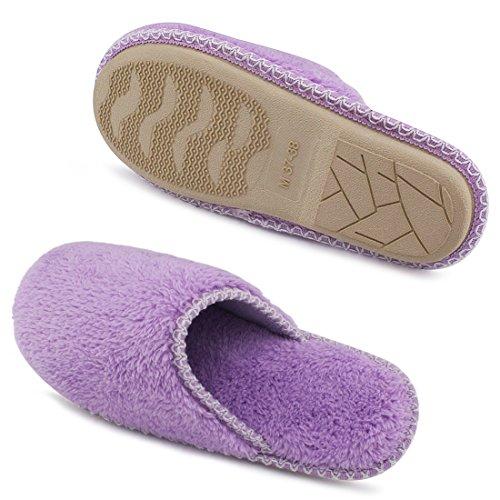 hometop de la mujer Cozy Plush Forro Polar Slip On Zapatillas de casa de espuma de memoria Púrpura claro