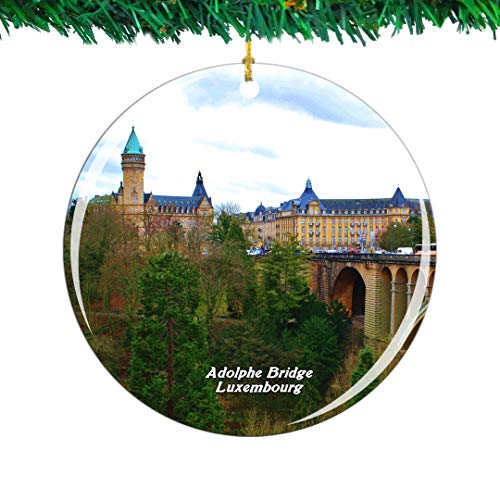 Weekino Adolphe Bridge Luxembourg Christmas Ornament City Travel Souvenir Collection Double Sided Porcelain 2.85 Inch Hanging Tree Decoration (Christmas Luxembourg)