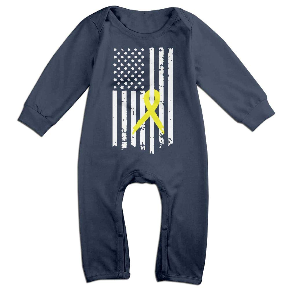 Mri-le1 Baby Boy Girl Long Sleeve Jumpsuit Bladder Cancer Awareness Flag-1 Kid Pajamas