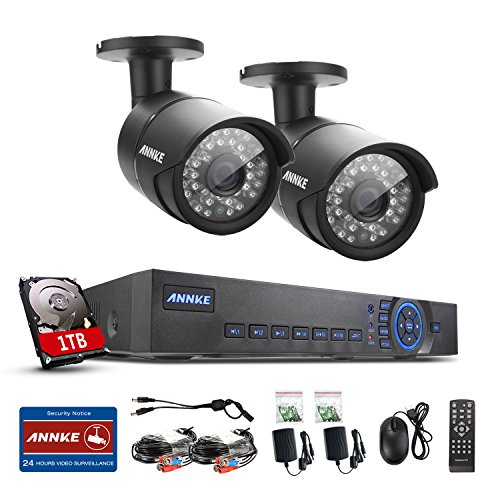 1280TVL-Annke-4-Channel-720P-AHD-DVR-with-2HD-1280720P-InOutdoor-CCTV-Bullet-Camera-System-1TB-HDD-Pre-installed-10-Mega-Pixels-100FT-Super-Night-Vision-Weatherproof-Vandal-Proof-Housing