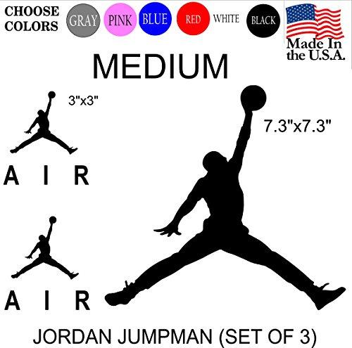 Set NBA Jordan 23 AIR Jumpman Logo Huge Flight Vinyl Decal Sticker - Car Window, Laptop, Wall, Mac (Medium, - Set White Decal