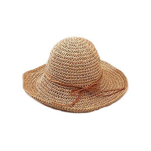 Fashfur Women Woolen Winter Shade Tide Bow Straw Jazz Hat (Brown)