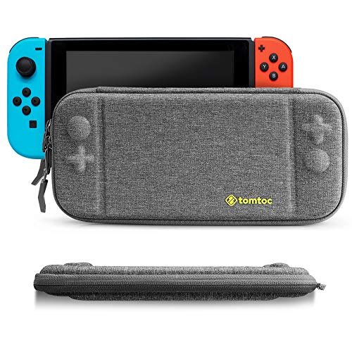 Slim Hard Case Compatible with Nintendo Switch, tomtoc Original Patent Portable Hardshell Travel Carrying Case, fit Switch Console Cover, 8 Game Cartridges Accessory, Gray