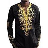 Mens Shirt,FUNIC Hip Hop African Dashiki Graphic Long Sleeve Tops Shirt Blouse (XL, Black)