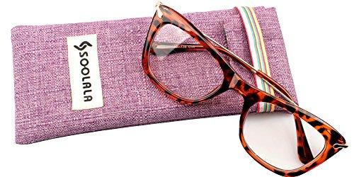 SOOLALA Womens Designer Cat Eye Metal Arms Reading Glasses Customized Strengths, Tortoise, - Sale Glasses Designer
