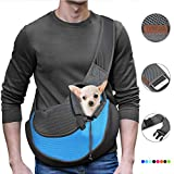 YUDODO Pet Dog Sling Carrier Breathable Mesh Travel Safe Sling Bag Carrier for Dogs Cats (M(up to 10 lbs), Sky