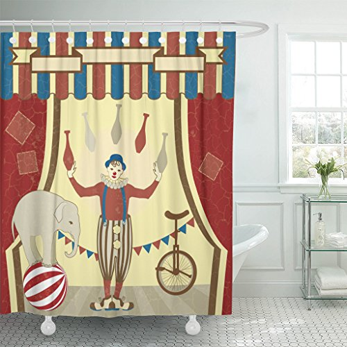 TOMPOP Shower Curtain Red Circus of Joggles and Elephant Vintage Clown Juggler Waterproof Polyester Fabric 60 x 72 Inches Set with Hooks]()