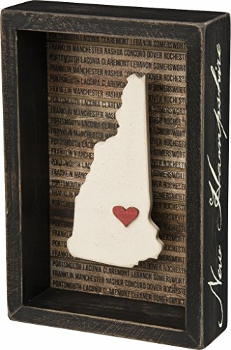 New Hampshire State Shape Box Sign Primitives by Kathy