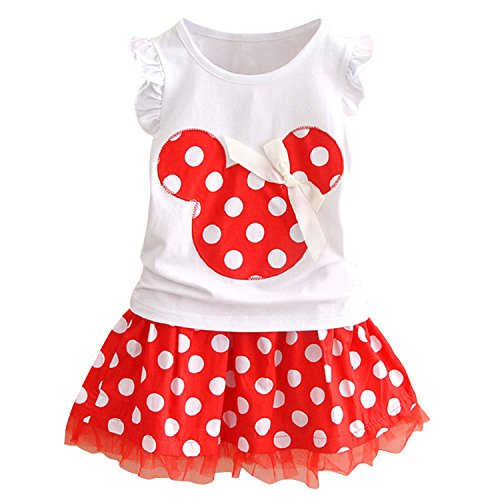 Avidqueen Cute Toddler Baby Girls Clothes Sets Polka Dot T-Shirt and Skirt Summer Outfits (White+Red, 2T)