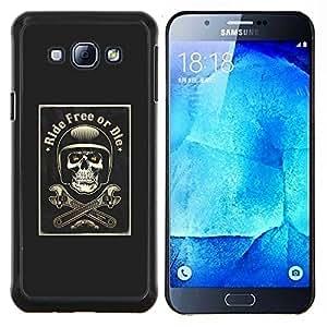"""Be-Star Único Patrón Plástico Duro Fundas Cover Cubre Hard Case Cover Para Samsung Galaxy A8 / SM-A800 ( Free Ride Or Die motorista de la motocicleta"""" )"""