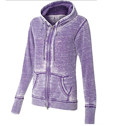 Yoga Jacket - Women Athletic Burnout, Light Weight Soft Fleece. (X-Small, Purple)