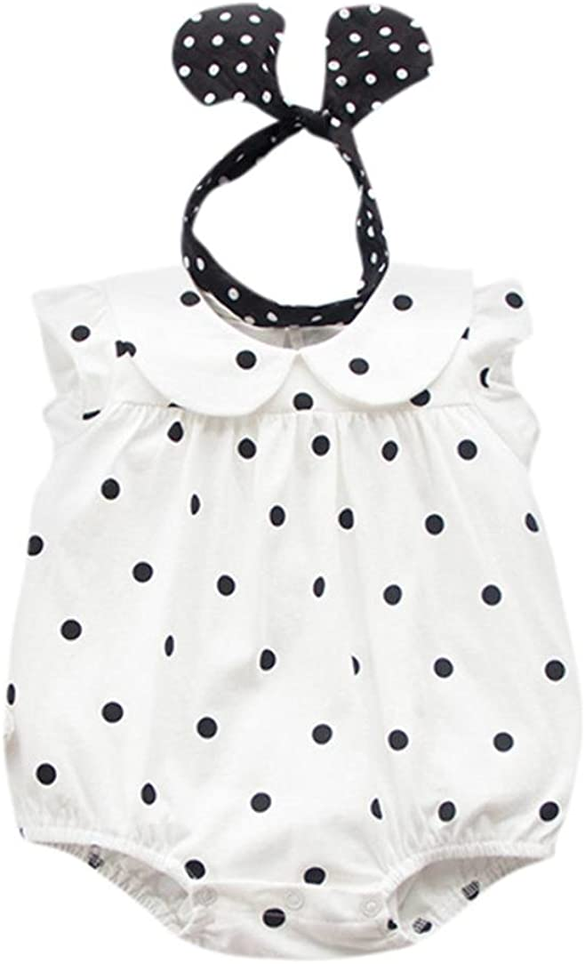 Efaster Toddler Baby Girls Clothes,Dots Print Doll Collar Romper Jumpsuit