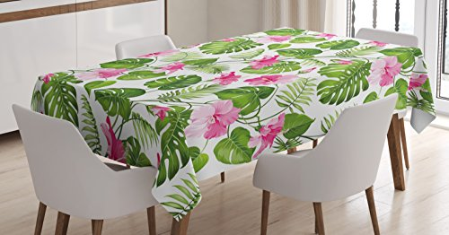 - Ambesonne Leaf Tablecloth by, Hawaiian Hibiscus Crystal Pink Flower with Palm Tree Leaves Art Print, Dining Room Kitchen Rectangular Table Cover, 52 W X 70 L Inches, Light Pink and Dark Green