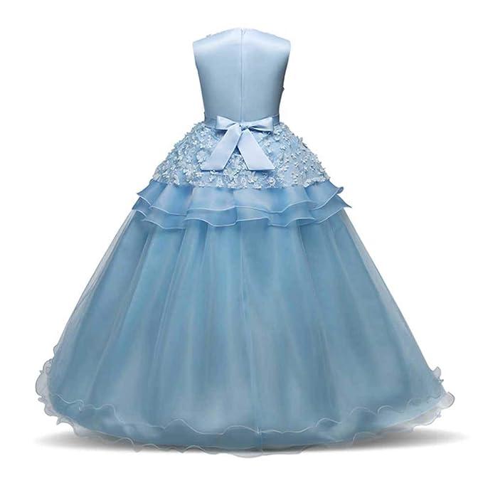 ZODOF Vestido de niña de Flores para la Boda Niños Largo Gala Encaje De Ceremonia Fiesta