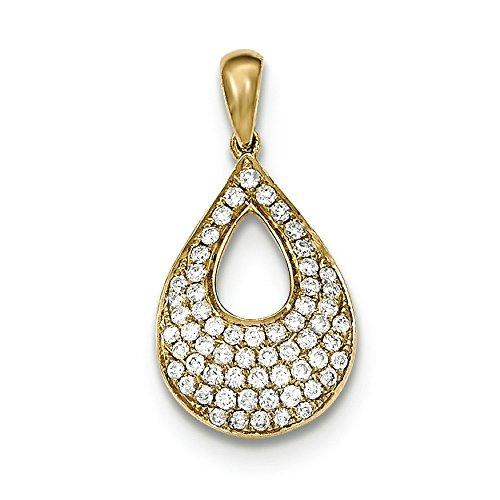 Or 14ct serti diamant pendentif goutte d'eau avec