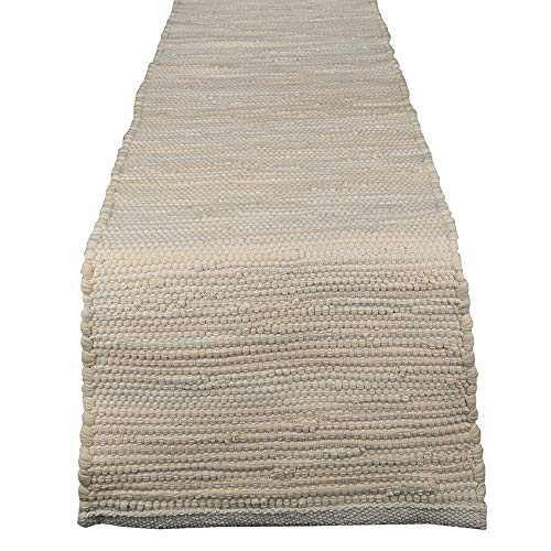 RAJRANG BRINGING RAJASTHAN TO YOU Chindi Rag Table Runner - Vintage Rajasthani Style Table Placemat Ethnic Decorative Cotton Kitchen Accessories - 14 X 72 Inches (Extending Cream Dining Table)