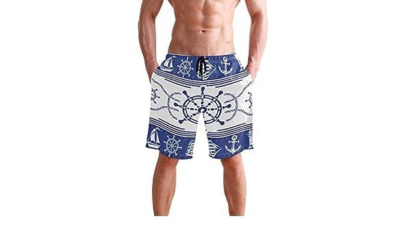 Ship Anchor Rudder Mens Swim Trunks Quick Dry Beach Board Shorts with Drawstring Pocket