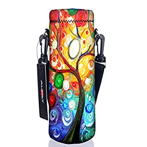 AUPET Water Bottle Carrier,Insulated Neoprene Water bottle Holder Bag Case Pouch Cover 1000ML or 750ML,Adjustable Shoulder Strap, Great for Stainless Steel and Plastic Bottles (Colorful Tree, 1000ML)