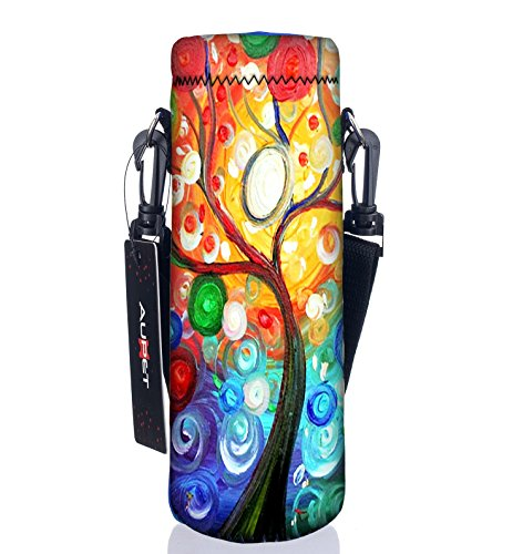 AUPET Water Bottle Carrier,Insulated Neoprene Water bottle Holder Bag Case Pouch Cover 1000ML or 750ML,Adjustable Shoulder Strap, Great for Stainless Steel and Plastic Bottles, Sport and Energy Drinks (Water Carrier Bottle Plastic)