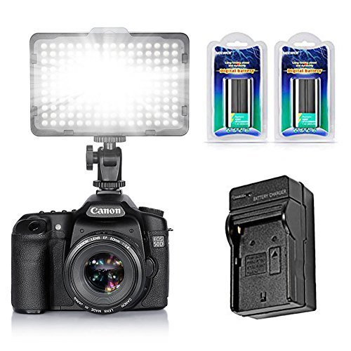Neewer 176 LED Video Light Kit for Photo Studio Shooting,Includes:(1)On-Camera Video Light,(2)NP-F550 Replacement Li-ion Battery,(1)Charger with Car Adapter for Canon,Nikon,Sony and Other DSLR Cameras by Neewer