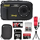 Coleman Xtreme3 C9WP Shock & Waterproof 1080p HD Digital Camera (Black) with 16GB Card + Case + Tripod + Float Strap + Kit